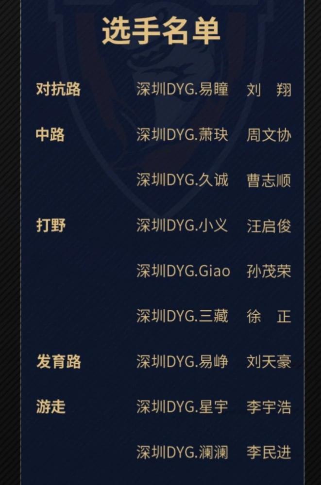 DYG春季赛选手名单